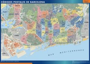 poster barcelona mapa códigos postales