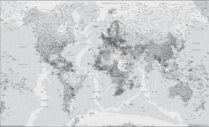 poster mapa mundo blanco y negro
