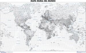 poster mapa mundo gama grises