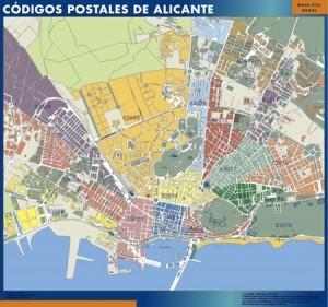 poster Alicante mapa códigos postales