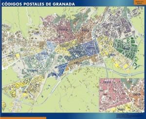 poster granada mapa códigos postales