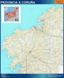 poster A Coruña mapa carreteras