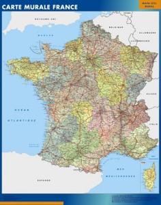 poster Francia mapa mural