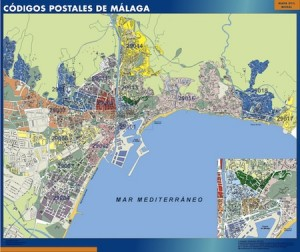 poster malaga mapa códigos postales