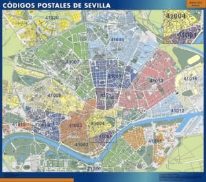 poster sevilla mapa códigos postales