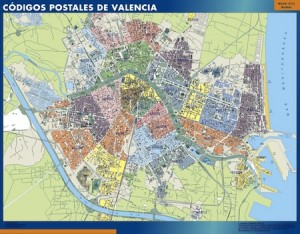 poster valencia mapa códigos postales