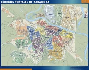 poster zaragoza mapa códigos postales