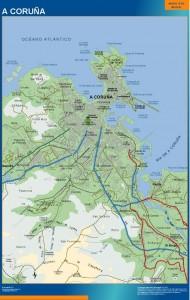 poster mapa A Coruna accesos