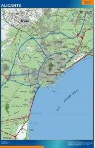 poster mapa Alicante accesos