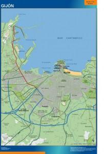 poster mapa Gijon accesos