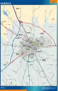 poster mapa Huesca accesos
