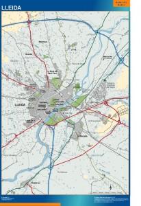 poster mapa Lleida accesos Lérida