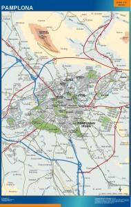 poster mapa Pamplona accesos