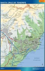 poster mapa Santa Cruz de Tenerife accesos