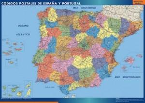 poster mapa espana codigos postales gigante