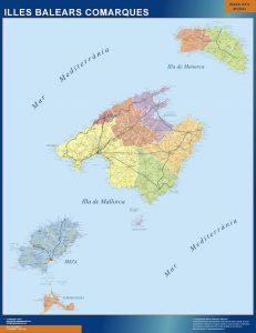 Mapa Gigante Islas Baleares Comarcal