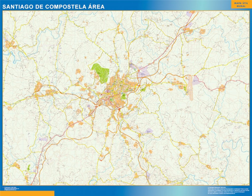 Callejero Mapa De Santiago De Compostela.Callejero Santiago De Compostela Mapas Gigantes De Pared