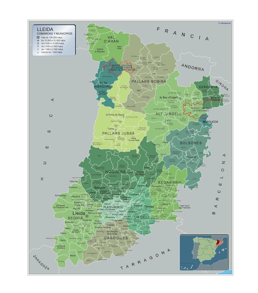 Mapas Carreteras Lleida Mapas Gigantes De Pared